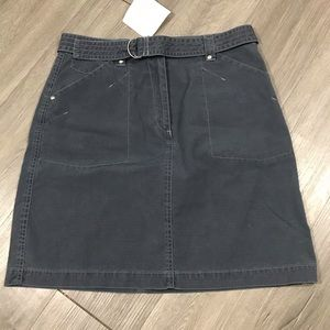 LL Bean NWT 100% Cotton Belted Gray Skirt size 10